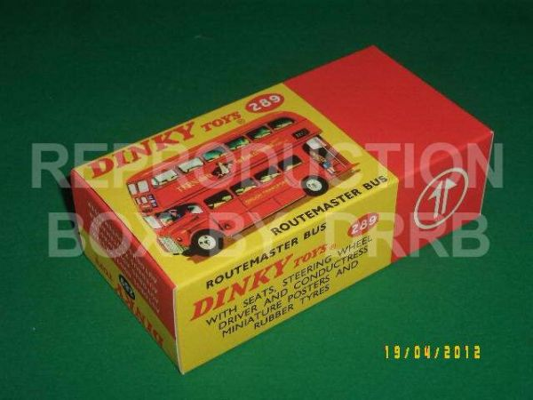 Dinky #289 Routemaster Bus - Reproduction Box ( Red - Tern Shirts -   )